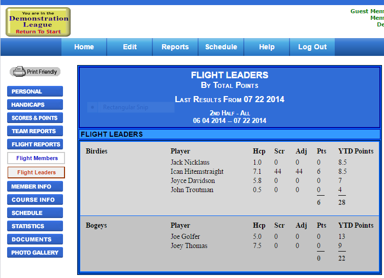 Flight Leader Board Example