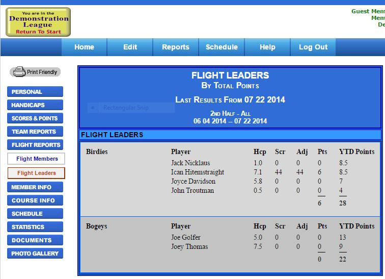 Flight Leader Board Example